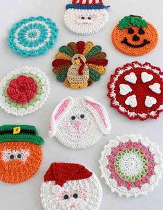 Holiday CD Coaster Crochet Patterns