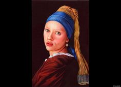 """Samuel Silva's Incredible Ballpoint Pen Drawings  """"Girl With A Pearl Earring""""  """"Girl With A Pearl Earring"""" - Ballpoint pen   original size: 15"""" x 10""""     (This is the Scarlett Johansson version. To see the real Vermeer girl, click here.)"""