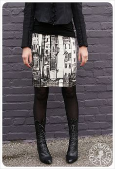 Victorian City skirt - Pencil Skirt - Off White Mini skirt - Black White - SMALL