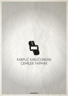 Minimal Poster / Karpuz Kabuğundan Gemiler Yapmak #pictogram #yesilcam #poster #afis #cinema