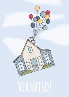 Een frisse verhuiskaart met het nieuwe huis aan de ballonnen, verkrijgbaar bij #kaartje2go voor €1,89 Happy New Home, Diy Cards, Easy Drawings, Bullet Journal, Invitations, Watercolor, Illustration, Products, Marque Page