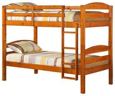 Walker Edison Twin/Twin Solid Wood Bunk Bed in Honey transitional beds