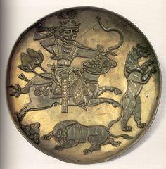 Блюдо серебряное - Царь охотится на тигров. Первая пол. VII в. Государственный Эрмитаж
