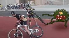 Epic man vs alien bike battle.