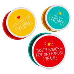 """A trio of brightly-coloured nesting snack pots to fill with treats and snacks. Large reads """"Tasty snacks for tiny hands! Yeah!"""". Medium reads """"Little bits of yum!"""". Small reads """"Nom nom nom!"""".  Volumes: Small: 200ml Medium: 300ml Large: 400ml              Shop this product here: spree.to/bdq5   Shop all of our products at http://spreesy.com/angelface      Pinterest selling powered by Spreesy.com"""