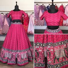 Red vaishali silk digital printed lehenga choli