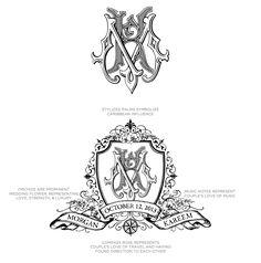 Custom Hand Drawn Monogram and Crest by ECRU Stationery & Design