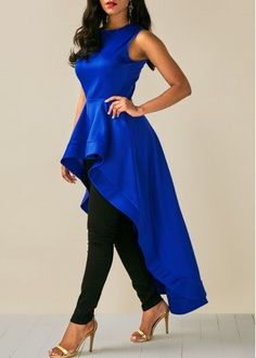 Royal Blue Sleeveless High Low Blouse - Trend Way Dress Kaftan, Blue High Low Dress, By Any Means Necessary, Trendy Tops For Women, Long Tops, Women's Tops, Fashion Outfits, Womens Fashion, Fashion Styles