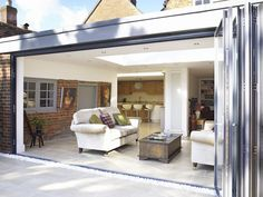 sarah beeny extend open plan bifold doors cheshire and Bungalow Extensions, Garden Room Extensions, House Extensions, Kitchen Extensions, Modern Conservatory, Brick Interior, Kitchen Family Rooms, London House, Diy Room Decor