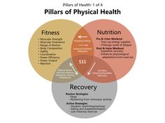 The three Pillars of Physical Health: Fitness, Nutrition, & Recovery. How each pillar is connected and must work together in order for you to achieve your health and fitness goals. Repin to your own health and fitness board!