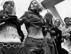 "Dolle Mina (Mad Mina) was a 1970s Dutch feminist group which campaigned for equal rights for women. On their bellies it's written ""Boss of my own belly"" - about right to decide about abortion, 1974"