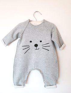 Cat Romper or bodysuit - Unisex - Soft Cotton - Sizes for baby and toddler Newborn to 2T by chocolatineboutique on Etsy