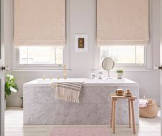 Pair sleek marble surfaces and whitewashed floorboards with blush pink Roman blinds for sophisticated warmth Pink Roman Blinds, Blackout Roman Blinds, Interior Lighting, Interior Styling, Lighting Design, Light Decorations, House Design, Inspiration, Blush Pink