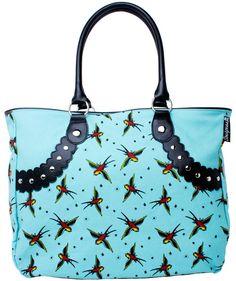 www.brokencherry.com #rocknroll #sourpuss #rockabilly #purse #handbag #tote #tattoo #sparrow   Sparrow Stud Tote  $38.00