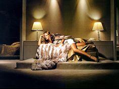 """Downtown Diva"", Elle Deutsch, January 2008. Fur coat by Giorgio Armani, satin dress by Bottega Veneta, shoes: Missoni."
