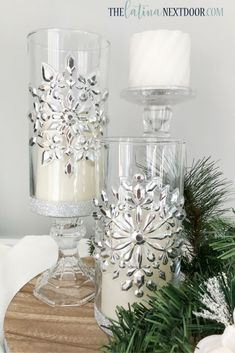 Make these elegant candleholders with items from the Dollar Tree crafts diy dollar tree Dollar Tree Christmas Candleholders - The Latina Next Door Silver Candle Holders, Christmas Candle Holders, Christmas Candles, Christmas Centerpieces, Xmas Decorations, Christmas Ornaments, Christmas Trees, Dollar Tree Centerpieces, Christmas Lights