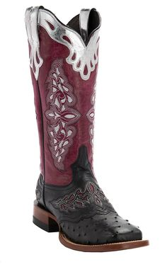 Lucchese® 1883 Red Collection™ Women's Black Full Quill with Pink Aisha Top Exotic Cowboy Square Toe Boots