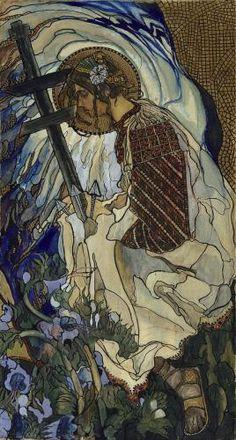 Kazimierz Sichulski, Die Huzulische Madonna, 1909, Tempera und Pastell auf Papier, auf Leinwand aufgezogen, 150 x 79,5 cm, Belvedere, Wien, Inv.-Nr. 1365c\nBelvedere, Wien