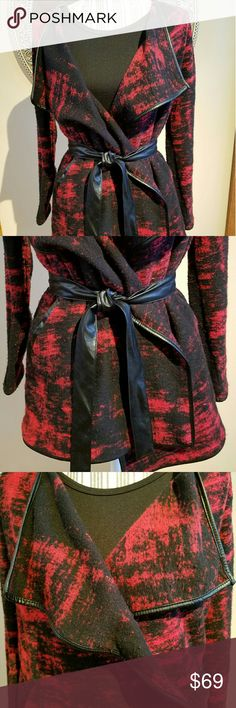 Inc Red & Black Print Jacket w/Pleather Belt This mostly cotton jacket is perfect for home or office. It is very comfy and can be worn with or without the cute pleather belt. If you work in a cold office setting, this jacket is perfect!  Jacket also has nice pleather piping detail. Size is SP, but is generous, so probably can fit MP, but ask for measures if concerned.  Inc can run generous in sizing. EUC. Worn once. INC International Concepts Jackets & Coats