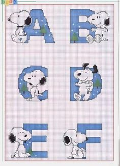 Schema Punto Croce Alfabeto Linus 1