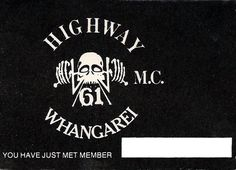 Gangscene image of New Zealand Highway Whangarei Chapter Motorcycle gang calling card Ten Year Anniversary, Biker Clubs, Calling Cards, The Good Old Days, New Zealand, Patches, Motorcycle, Colours, Life