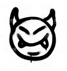 graffiti sprayed devil emoticon in black on white Graffiti Art, Graffiti Lettering Fonts, Graffiti Styles, Easy Graffiti Drawings, Arte Do Hip Hop, Laser Tag, 3d Video, Graffiti Characters, Hippie Art