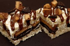 Line 9×9 pan with nonstick foil. Ingredients: 1 bag snack size Reese's Peanut Butter Cups 20 Oreos (16 for pan, other 4 to decorate tops) 10 oz marshmallows 5 cups Rice Krispies cereal 3 tablespoons butter Instructions: 1. Melt butter and marshmallows in the microwave until melted. Stir in Rice …