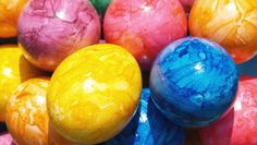 Egg Decorating Tip: Drop 1 tsp oil in with egg dye for a marbled effect.