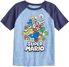 This boys' Jumping Beans graphic tee completes his look with Super Mario Bros. In blue. Gamer T-shirt, Super Mario Toys, Mario Bros., Jumping Beans, Tshirts Online, Cool Shirts, Boy Outfits, Graphic Tees, Mens Tops