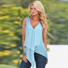 Women Fashion V Neck Sleeveless Solid Irregular Hem Chiffon Blouse Tank Tops