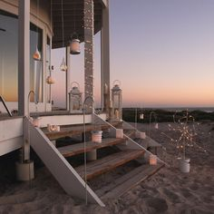 Wow is what I said when I saw this image - great mix of lanterns and lights on a fabulous beach house and the sun setting on the background. The White Company House By The Sea, My House, House Porch, House Windows, Dream Homes, My Dream Home, Dream Beach Houses, Boho Home, Belle Villa