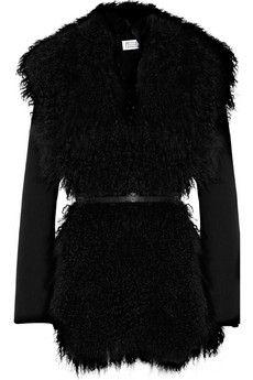Maison Martin Margiela|Mongolian goat-trimmed wool-blend coat|NET-A-PORTER.COM - StyleSays