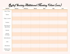 Relief Society Meeting Chart