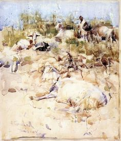 Joseph Crawhall (1861 — 1913, UK) Goats on a Hillside Tangier. sketch. watercolour.