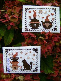 La dînette des animaux Atc, Advent Calendar, Cross Stitch, Holiday Decor, Handmade, Easter, Spring, Mugs, Needlepoint