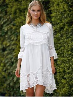 GET $50 NOW | Join RoseGal: Get YOUR $50 NOW!http://www.rosegal.com/casual-dresses/fashionable-scoop-neck-3-4-sleeve-lace-splicing-dress-554364.html?seid=1132834rg554364