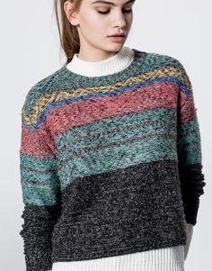 Żakardowy sweter w pasy - Dzianina - Odzież - Dla Niej - PULL&BEAR Polska