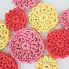 handmade crochet applique set of 9 (lacy mum in bubble gum, tangerine and sunshine)