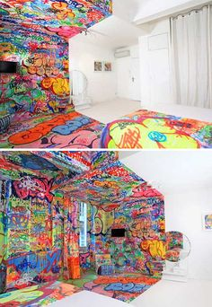 Split-Personality Art Hotel Room is Half White, Half Graffiti