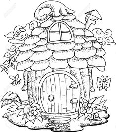 Black and white illustration of a fairy house with details for. White Illustration Of A Fairy House .<br> Vector - Black and white illustration of a fairy house with details for adult coloring book House Colouring Pages, Fairy Coloring Pages, Adult Coloring Book Pages, Coloring Books, Colouring For Adults, Fairy Drawings, Cute Fairy, Black And White Illustration, Fairy Tales