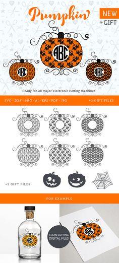 Halloween Pumpkin Circle Monogram Frame SVG Halloween Frame Cutable Files Silhouette Studio Cricut Vinyl Cutter Heat Press Transfer