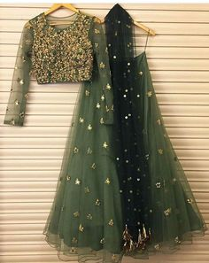 Lovely olive green and gold net heavy embroidered lehenga with long sleeve choli Bhumika sharma # lehenga # Indian wear # Indian fashion Indian Wedding Outfits, Pakistani Outfits, Bridal Outfits, Indian Outfits, Bridal Dresses, Pakistani Mehndi Dress, Mehendi, Indian Fashion Dresses, Indian Designer Outfits