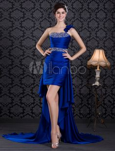Royal Blue Beading One-Shoulder Low High Prom Dress