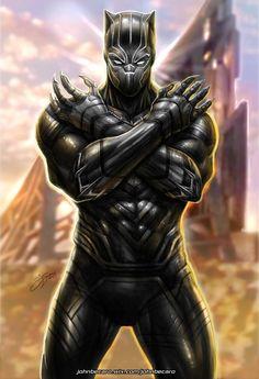 Black Panther by johnbecaro on DeviantArt Black Panther Images, Black Panther Hd Wallpaper, Black Panther Comic, Black Panther Tattoo, Hq Marvel, Marvel Comics Art, Marvel Heroes, Marvel Characters, Storm Marvel