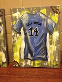 PERSONALIZED jersey painting on canvas by IIIrdGenStudiosArt: