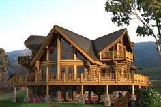 Log house with wrap-around deck