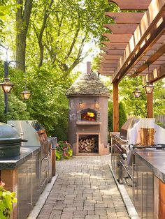 Fireplace and Outdoor Kitchen.