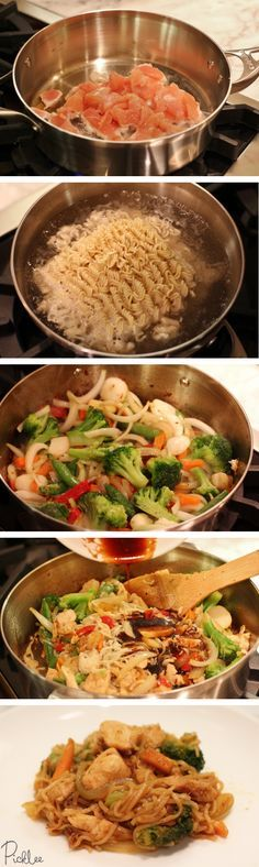 Chicken Chow Mein chow mein sauce: sesame oil, soy sauce, Worchester sauce, ketchup, sriracha and (no ramen noodles--use chow Mein noodles) Chicken Chow Mein Recipe Easy, Chicken Recipes, I Love Food, Good Food, Yummy Food, Tasty, Asian Recipes, Healthy Recipes, Indian Recipes