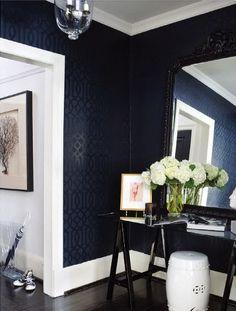 Imperial Trellis in Onyx Black by Schumacher Here is the Schumacher wallpaper in this beautiful entry way. Designer Ferreira Design via Decor Pad