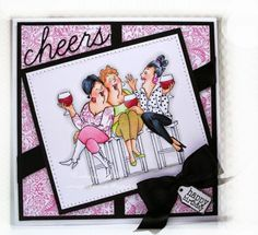 Art Impressions Rubber Stamps  Ai Girlfriends Wine Tasters Set. friendship card by DeeDeeBean